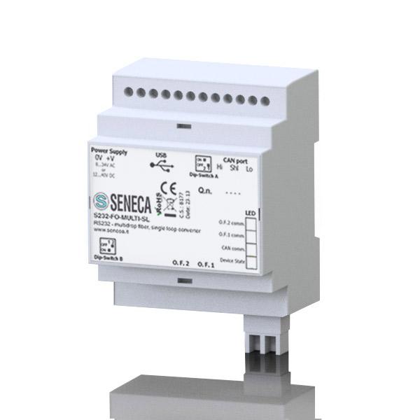 意大利Seneca  RS232到光纤转换器。单模/多模光纤-单环路/双环转换器S232-FO